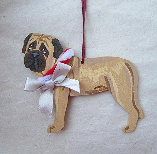 Mastiff Ornaments - Hand-Painted ENGLISH MASTIFF w/Bow Wood Christmas Ornament Artist Original