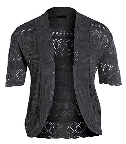 Charcoal 54 Crochet Bolro Femmes 44 Taille Pull Nouveaux tricot Hauts Grande Gilet long 7xTnUHq