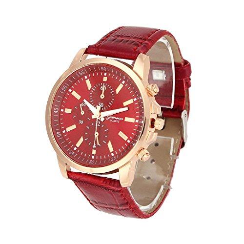 Auwer Watches,2019 New Waterproof Unisex Casual Geneva Faux Leather Quartz Analog Wrist Watch Fashion (Red)