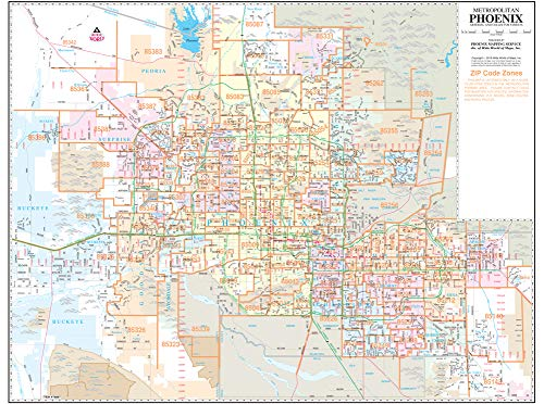 Metropolitan Phoenix Arterial and Collector Streets Standard ZIP Code Wall Map Dry Erase Laminated ()