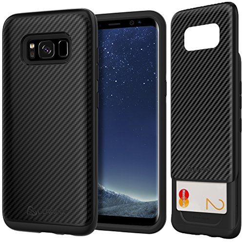 LUVVITT Sleek Armor Galaxy S8 Case with Slim Dual Layer Wallet Design and Card Slot Holder for Samsung Galaxy S8 (2017) Carbon Fiber Design - Black