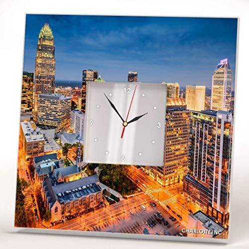 Skyline Charlotte North Carolina Downtown View Wall Clock Framed Mirror Decor Art Home Design Gift (Mirrors Wall Charlotte Nc)