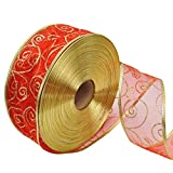 SuBoZhuLiuJ 200x5cm Glitter Ribbon Wrapping Bow Packaging Belt Xmas Decor - Red