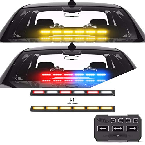 SpeedTech Lights Multicolor Striker TIR 6 Head LED Traffic Advisor Light Bar for Emergency Vehicles/Strobe Directional Warning Light Windshield Mount - Red/Clear Alternating - Amber