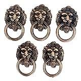Cupboard Cabinet Drawer Vintage Lion Head Ring Pull Knob Handle 5 Pcs