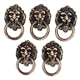 Cupboard Cabinet Drawer Vintage Lion Head Ring Pull Knob Handle 5 Pcs