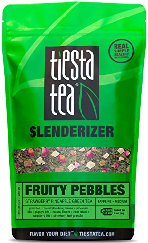 Tiesta Tea Fruity Pebbles, Strawberry Pineapple Green Tea, 200 Servings, 1 Pound Bag, Medium Caffeine, Loose Leaf Green Tea Slenderizer Blend