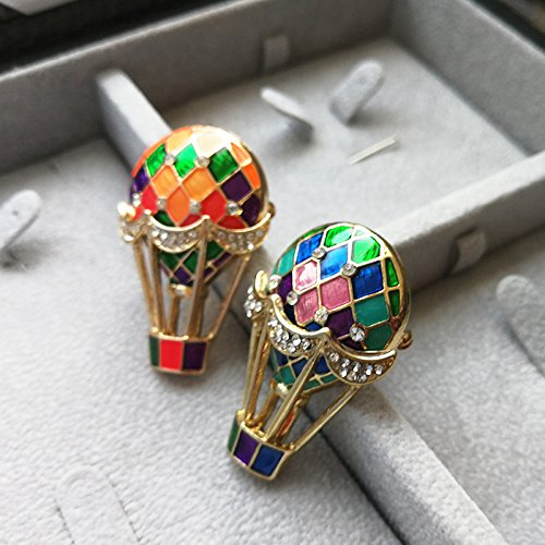 jewelry hot air balloons color paint retro exaggerated diamond brooch pin button shawl]()
