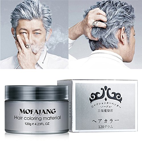 Price comparison product image MS.DEAR Instant Silver Grey Hair Wax,  Temporary Hairstyle Cream 4.23 oz,  Silvery Grey Hair Pomades,  Natural Silver Ash Matte Hairstyle Wax for Men and Women (Ash Matte Grey)