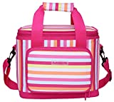 16 can cooler lunch box - MIER 16 Can Large Insulated Lunch Bag for Women, Soft Leakproof Liner, Pink