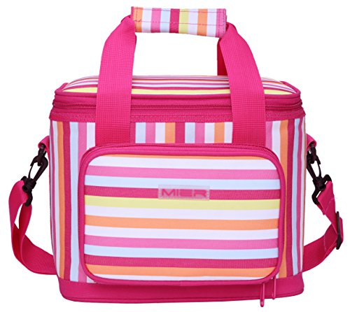 Leak Proof Peva Lining - MIER 16 Can Large Insulated Lunch Bag for Women, Soft Leakproof Liner, Pink