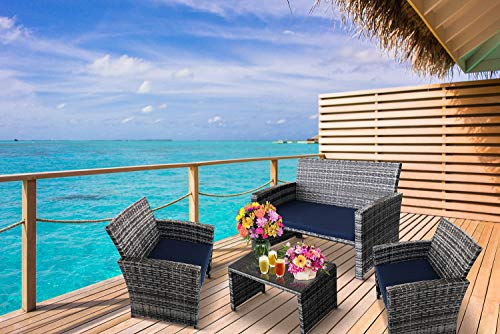 dealz frenzy 4 Pieces Outdoor Rattan Patio Furniture Set, Hand Woven Wicker Chairs, PE Rattan Sectional Sofa with Cushions and Tea Table for Garden Party, Backyard, Lawn, Poolside, Seaside