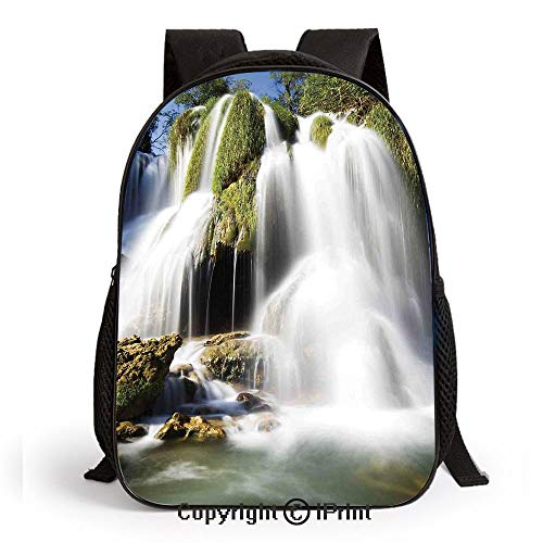Kids Backpack Children Bookbag Majestic Waterfall Flowing on Cliff Rocks in Rural Town Wild Nature Art Image Preschool Kindergarten Elementary School Travel Bag for Girls Boys, Green White