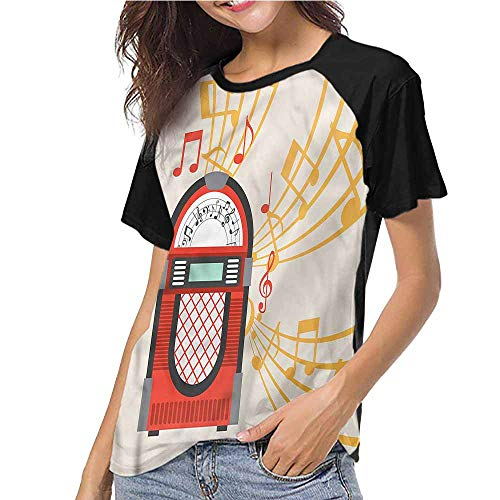 Womens Short Sleeve T-Shirt,Retro,Vintage Jukebox Musical Notes S-XXL(This is for Size Extra Large),Baseball Print Casual O-Neck Tops