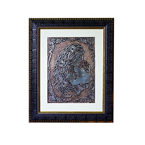 Aruna Mother's Love for Child 3D copper foil art work Wall Hanging for Living Room,Dining Room.Office With Designer Frame Glass Laminated For Wall Decor. Packed In Box for Gift Wrap ()