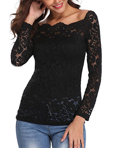 MISS MOLY Sexy Off Shoulder Lace Tops for Women Floral Lace Patchwork Long Sleeve Twin Set Blouse Wedding Top by MISS MOLY