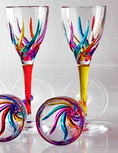 GLASSWARE - ''VENETIAN CARNEVALE'' CORDIAL GLASSES - SET OF FOUR by KensingtonRow Home Collection