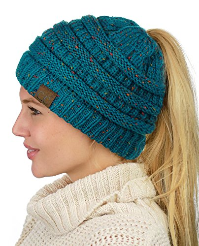 Knit Teal Hat - C.C BeanieTail Soft Stretch Cable Knit Messy High Bun Ponytail Beanie Hat, Confetti Teal
