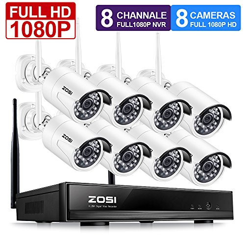 ZOSI FULL HD 1080P Wireless Security Camera System 8CH 1080P Wireless Surveillance NVR Systems and (8) HD 2.0 Megapixel 1920x1080 WIFI Indoor Outdoor IP CCTV Cameras No Hard Drive