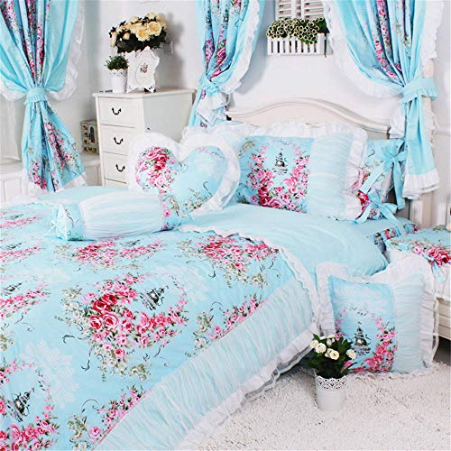 Abreeze 4pcs Girls Fairy Bedding Sets, Romantic Princess Bedding Collection Cotton Rose Duvet Cover Set Girls Bedding Twin - Bedding Collection Fairies