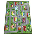 City Street Map Kids Rug with Roads Kids Rug Play mat with School Hospital Station Bank Hotel Book Store Government Workshop Farm for Boy Girl Nursery Bedroom Playroom Classroom