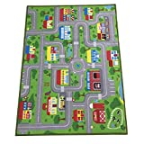 """City Street Map Kids' Rug with Roads Kids Rug Play mat with School Hospital Station Bank Hotel Book Store Government Workshop Farm for Boy Girl Nursery Bedroom Playroom Classrooms (39"""" X 51"""")"""