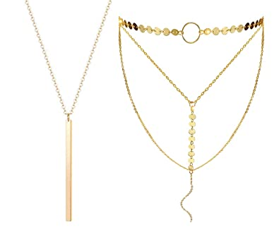 14902a7bf0d82 Dolovely Y Layered Sequins Disc Coin Choker Necklace Bar Pendant Thin Long  Chain for Women Jewelry