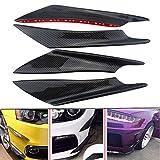 #2: Hanperal 4pcs Car Carbon Fiber Color Front Bumper Splitter Fins Body Spoiler, Front Bumper Fins Lip Trim
