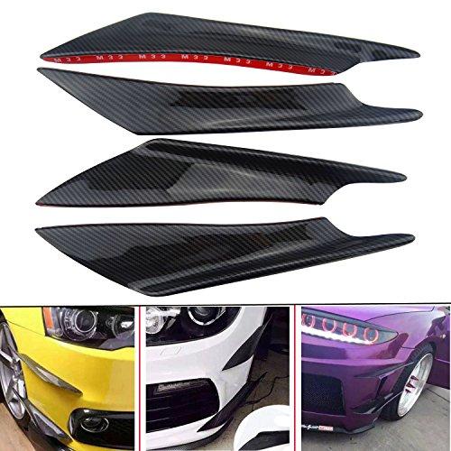Hanperal 4pcs Car Carbon Fiber Color Front Bumper Splitter Fins Body Spoiler, Front Bumper Fins Lip Trim