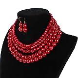 Lanue Women Elegant Jewelry Set Multi Strand 5 Layer Pearl Bead Cluster Collar Bib Choker Necklace and Earrings Suit