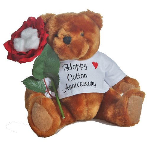 JustPaperRoses Happy 2nd Anniversary Teddy Bear with Cotton