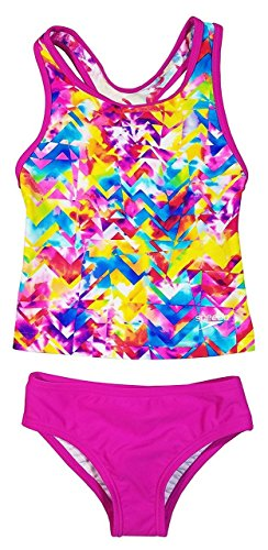 Speedo Girls Racerback Swimsuit Two Piece Tankini Swimsuit (10, Pink - Speedo Tank Top Spandex