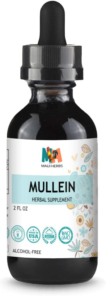 Mullein Tincture 2 FL OZ Alcohol-Free Liquid Extract, Organic Mullein Leaf Verbascum Densiflorum