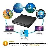 External CD DVD Drive, Blingco USB 2.0 Slim Protable External CD-RW Drive DVD-RW Burner Writer Player for Laptop Notebook PC Desktop Computer, Black