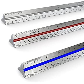 "Soraco12"" Metric Triangular Architect Scale Aluminum with Color Coded Grooves"