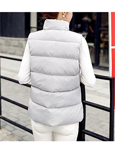 Manteau Doudoune Gilet OCHENTA Automne Hiver Poches Manches Montant Gris Femme Sans Col Casual Neige Svqzaw