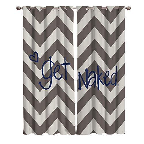 (FunDecorArt Blackout Curtains, Brown Ripple Get Naked Polyester Shade Curtains, 2 Panel Drapes/Window Treatment for Bedroom/Living Room/Office/Teen Room, 55 W x 39 L inches)