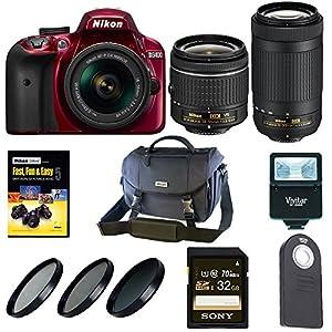Nikon D3400 DSLR Camera (Red) w/ 18-55mm & 70-300mm Lenses + Nikon Case and Holiday Kit