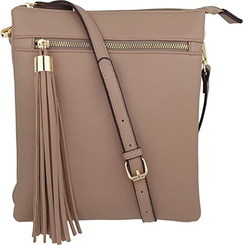 Double Pocket B Accent Purse Handbag Vegan wih Nude Crossbody Big Zip Tassel BRENTANO qwwgA