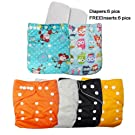 Baby All-In-One Washable Reusable Adjustable Snap Girls/Boys One Size Cloth Diapers , 6 pcs + 6 Inserts