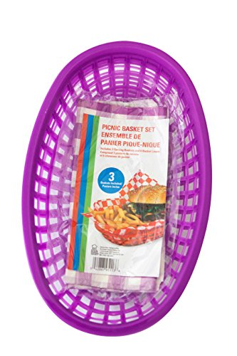 Best Brands Sandwich and Chips Picnic Basket Set, 6 Liners and 3 Baskets, Purple -