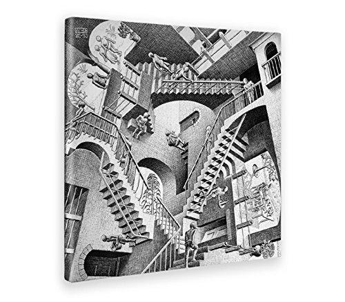 GIALLO BUS - BILD - DRUCK AUF LEINWAND - M.C. ESCHER - RELATIVITY - 100 x 100 CM