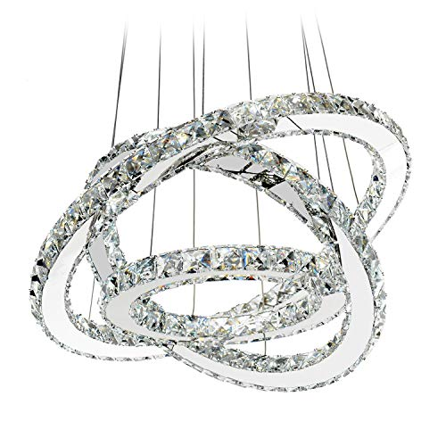 MEEROSEE LED Crystal Chandelier Lighting Ceiling Lights Fixture Contemporary Adjustable Stainless Steel 3 Rings Light for Living Room Bedroom Dining Room D19.7″+15.7″+11.8″ For Sale