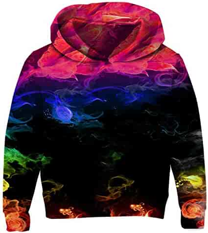 c05e532b3 Uideazone Boys Girls 3D Print Graphic Sweatshirts Long Sleeve Cotton Pullover  Hoodies with Pocket 3-