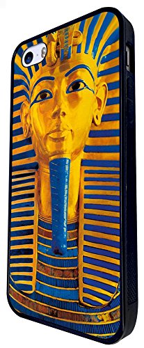 127 - Tutankhamun Egyptian Faroh Death Mask Mummy Design iphone SE - 2016 Coque Fashion Trend Case Coque Protection Cover plastique et métal - Noir