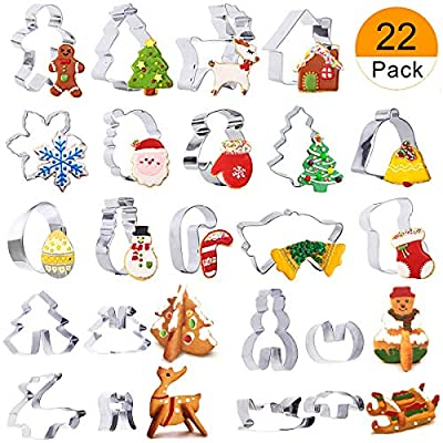 Christmas Cookie Cutters Set - 22-Piece Stainless Steel Holidays Shapes Cookie Cutters for Making Muffins, Biscuits, Sandwiches,Cookie,Christmas Party and Baking Gift
