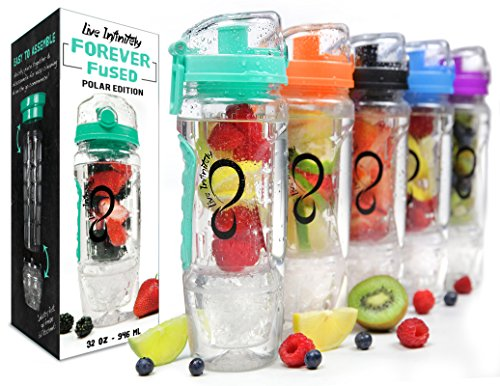 Live Infinitely 32 oz. Infuser Water Bottles - Featuring First Ever Gel Freezer Ball Infusion Rod, Flip Top Lid, Larger Dual Hand Grips & Recipe Ebook Gift (Mint Polar Edition, 32 Ounce)