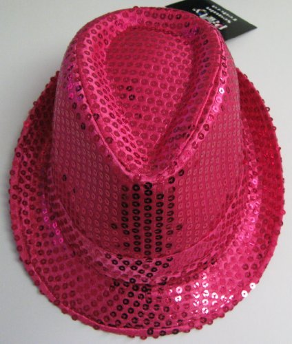 Dark Pink Halloween Fedora Hat with Sequins