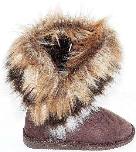 ... Kvinner Vinter Varme Høye Lang Snø Ankelstøvletter Faux Fox Kaninpels  Dusken Sko Brun / Pels