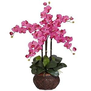 Nearly Natural 1211-DP Phalaenopsis with Decorative Vase Silk Flower Arrangement, Dark Pink 17